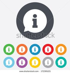 Information sign icon. Info speech bubble symbol. Round colourful 11 buttons. Vector