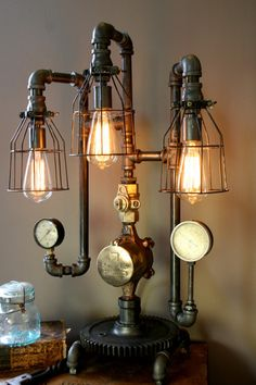Machine Age Steampunk Steam Gauge Lamp #62 by Machine Age Lamps | Machine Age Lamps, LLC