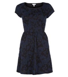 Navy and Black Floral Jacquard Skater Dress