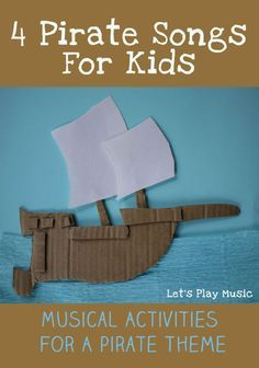 4 Pirate Songs For Kids - Let's Play Music 4 Pirate SongsFor Kids with pirate themed musical activites Should you really like arts and crafts an individual will appreciate this info! Pirate Songs For Kids, Preschool Pirate Theme, Pirate Activities, Preschool Songs, Kids Songs, Pirates For Kids, Kids Pirate Crafts, Pirate Games, Kids Music