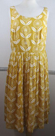 Boden Sundress US 12L Mustard Mod Floral Below Knee Cotton Sleeveless GRUC #Boden #Sundress #SummerBeach