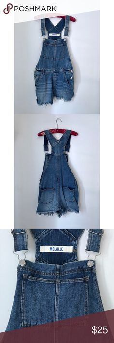 Brandy Melville Denim Overalls Super cute & trendy denim overalls from Brandy Melville. Staple piece for spring & summer. Medium denim blue with adjustable racerback straps, chest pocket, side & back pockets, belt loops all around, and cut off hem.   Item Details: Brand: Brandy Melville Size: Large Condition: Like New; Only worn once   Seller Details: Shipping: M-F within 1 business day Questions?: Please ask Offers: Acceped within reason Discounts: Bundle for better prices Swap?: Sorry, no…