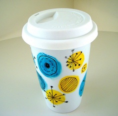 simple and bright travel coffee mug! My two favorite colors - #11 Blue Yonder + #24 Dandelion