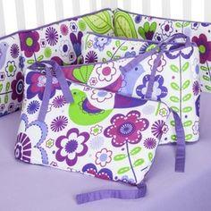Bacati Botanical Purple Bumper Pad