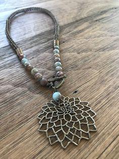 Dahlia Flower & Jasper Viking Knit Necklace
