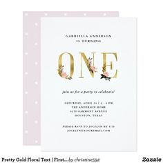 Pretty Gold Floral Text | First Birthday Party Card These pretty and trendy first birthday party invitations feature faux gold text with watercolor look blush pink, gold, and black flowers, for a modern and girly look. Fun birthday party invites - customize your invitations. #birthdayparty #invites #invitations