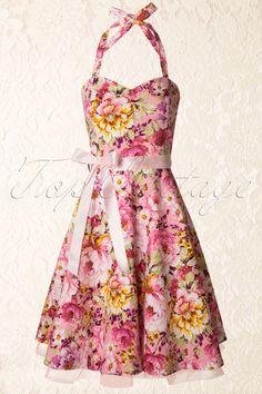 Lindy Bop - 1950s Bonnie Swing Dress Floral Pink
