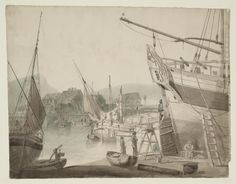 Joseph Mallord William Turner, Thomas Girtin 'Dover Harbour: The Stern of a Large Ship, and Smaller Vessels',   --    From Collaborations with Thomas Girtin for Dr Monro, and Other Copies  --  1795–6 - Graphite and watercolour on paper -  Dimensions Support: 472 x 608 mm -  Collection -  Tate