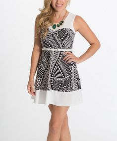 Another great find on #zulily! Black & White Geometric Skater Dress by Pinkblush #zulilyfinds