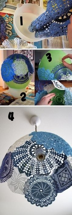 DIY lamp shade...dont u have a bunch of these?