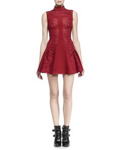 Alexander McQueen Embroidered Lace Sleeveless Mock-Neck Dress in a rich red.