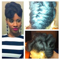 My NYE hairstyle. Blow out, twist and pin with a basket weave braid. -terrabe11a  BeauTIFFul Curls