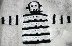 Oh no she didn't. Sorry couldn't help myself. Baby hoodie with a peek a boo openwork skull at the back of the hood. Sized for babies small up to 18 inches. Medium Up to 22 inches, and Large up to 24 inches around. Pictures of almost every step Use buttons, or a jacket zipper. Written in US Crochet terms. The Gauge is based on my crochet tension, and I tend to be looser than Standard.