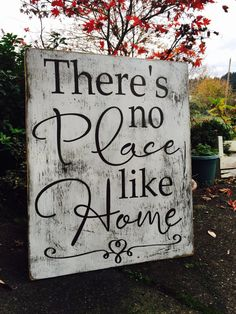 Theres no place like HOME! All painted, brown wording with white as the main, then sanded for a rustic look. Sign measures by 24 W. Great for your living room or as a Christmas gift! Let me know if you have any questions or would like another color