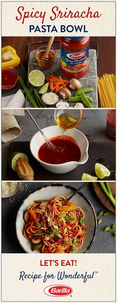 This pasta recipe is a delicious celebration of all our favorite things: Barilla Spicy Marinara Sauce, fiery Sriracha, al dente spaghetti and a touch of sweet honey. dinner ideas for two healthy Salsa Marinara, Marinara Sauce, Great Recipes, Dinner Recipes, Favorite Recipes, Vegetarian Recipes, Cooking Recipes, Healthy Recipes, Crockpot Recipes