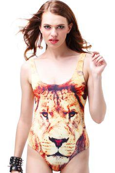 Lion Face Deep Cut Swim Suit #ROMWE