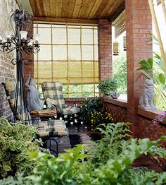 Bamboo Screening;  An add-on porch gets a touch of added privacy with versatile and inexpensive roll-up bamboo blinds. These can be raised and lowered as needed to control sunlight and views.