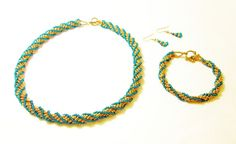 Gold and Green African Helix Jewelry Set by kiddercreations, $55.00