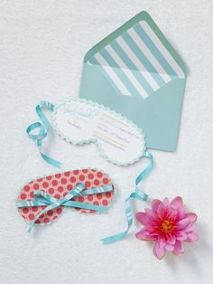 Sleep mask inspired invite suite for spa day bachelorette party. SHE PAPERIE.