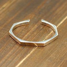 Men's Sterling Silver Polygon Cuff Bracelet
