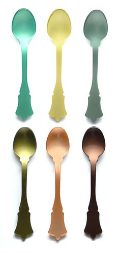 Mixed Greens Teaspoon Set - Vibrant, lustrous acrylic in saturated hues takes on a chic nouveau shape in this set of teaspoons - if you thought plastic couldn't be sophisticated, think again.