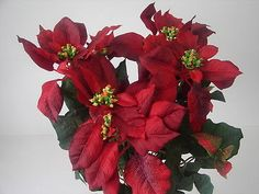 Künstlicher Weihnachtsstern rot 60cm Poinsettia Kunstblumen künstliche Pflanzen