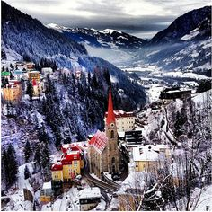 Winter in Bad Gastein, Salzburg, Austria  #austria #salzburg #badgastein #winter #snow #valley #mountains #visitaustria