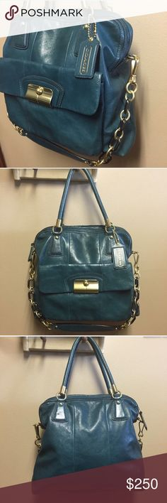 Teal Leather Zip Top Tote Kristin #14223 🌟EXCELLENT Condition - used just a few times   No Signs of Wear!  Gorgeous Lining, Mixed Metals, Leather Still Stiff.  ✨WILL CONSIDER REASONABLE OFFERS❤️ Coach Bags