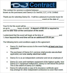 Free And Printable Disc Jockey Contract Form RCcom D J - Dental invoice template word rocco online store
