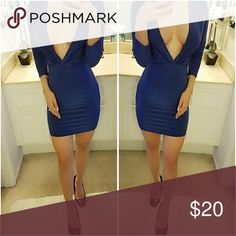 Deep V Bodycon Silky Dress From My Personal Closet  My measurements are 32 25 35 Dresses