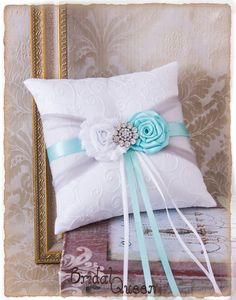 Aqua and Gray Ring Bearer Pillow Wedding Ring by BridalQueen Wedding Engagement, Wedding Rings, Wedding Stuff, Wedding Ideas, Ring Bearer Pillows, Barbie Wedding, Tiffany Wedding, Gray Weddings, Something Old