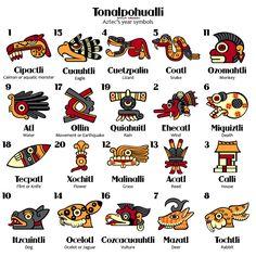Redesign of ancient Aztec calendar symbols Aztec Symbols, Mayan Symbols, Ancient Aztecs, Ancient Art, Inka Tattoo, Haida Kunst, Aztec Culture, Aztec Calendar, Aztec Art