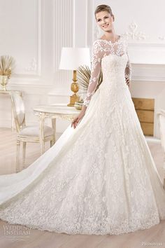 Pronovias bridal 2014 atelier collection yesuru long sleeve wedding dress. Perfection!