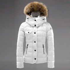 06abbc42455f8 Moncler Down White Fur Cap Slash And Zipper Slim Women Coats Outlet Moda  Nastolatek, Moda