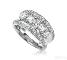 Anniversary Band with Asscher Cut  Pave