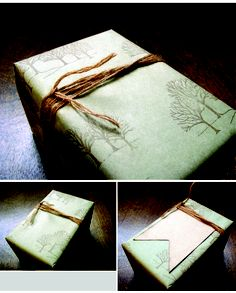 DIY cheap yet elegant wrapping paper.  I tried to do something similar this year using packing paper, but I couldn't get tape to stick to it.  Maybe this painter's paper would yield a different result?