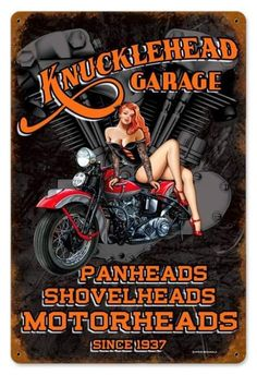 Vintage and Retro Wall Decor - JackandFriends.com - Vintage Knuckle Garage  - Pin-Up Girl Metal Sign, $39.97 (http://www.jackandfriends.com/vintage-knuckle-garage-metal-sign/)