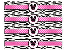 Minnie Mouse Birthday DIY Water Bottle Labels in Hot Pink and Zebra
