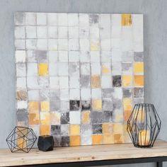 Toile jaune/grise 90 x 90 cm YELLOW SQUARES
