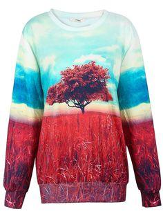 Dual-tone Painting The Tree of Life Print Sweatshirt 21.99