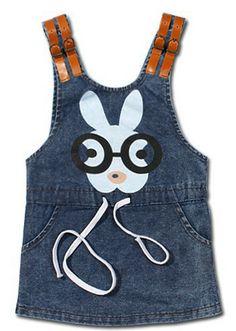 baby girl denim dress children's clothing cartoon pattern cotton dress new 2014 fashion kids denim braces dress one piece retail $29.98