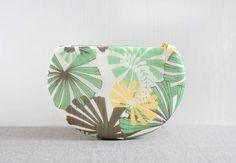July clutch - one of a kind summer clutch, green flower leaf pattern