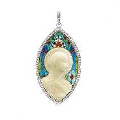 Art Nouveau Platinum, Gold, Plique-a-Jour Enamel, Diamond and Carved Ivory Madonna Pendant, Frederic Vernon.