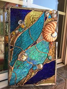Abstract Stained Glass Window Nautilus Sea Shell Beach Tropical Suncatcher Panel #StainedGlassBeach