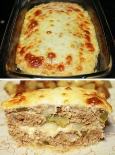 Philly Cheese Meatloaf | Jazz up meatloaf with bell pepper, onion, and provolone cheese to give it the classic flavor of Philly cheesesteak! Meatloaf Recipe With Cheese, Cheese Stuffed Meatloaf, Cheeseburger Meatloaf, Stuffed Bread, Healthy Recipes, Meat Recipes, Cooking Recipes, Meatloaf Recipes, Delicious Recipes