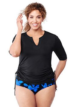 Land 39 s end products and women 39 s on pinterest for Plus size womens rash guard swim shirts