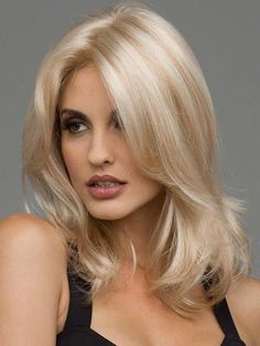 Synthetic Wig Wavy Blonde Synthetic Hair Heat Resistant / Middle Part Blonde Wig Women's Medium Length Blonde Straight Lace Front Wigs, Synthetic Lace Front Wigs, Synthetic Wigs, Dark Ombre Hair, Dark Hair, Wig Hairstyles, Straight Hairstyles, Medium Length Blonde, Creamy Blonde