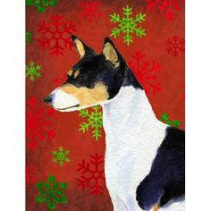 Caroline's Treasures Basenji Red and Green Snowflakes Holiday Christmas House Vertical Flag