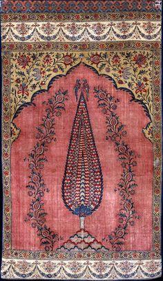 Indienne (tapis de prière). Coton peint, imprimé et teint. Inde, début XIXe siècle. ( MADOI - n° inv. TEX.1991.749)