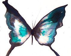 Asia inspirado mariposa blanco, verde esmeralda y negro pintura original de la acuarela